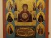 Икона Богоматерь Знамение со святыми и изображением Новгородского кремля, XVII-XIX век из церкви Михаила Архангела на Торговой стороне