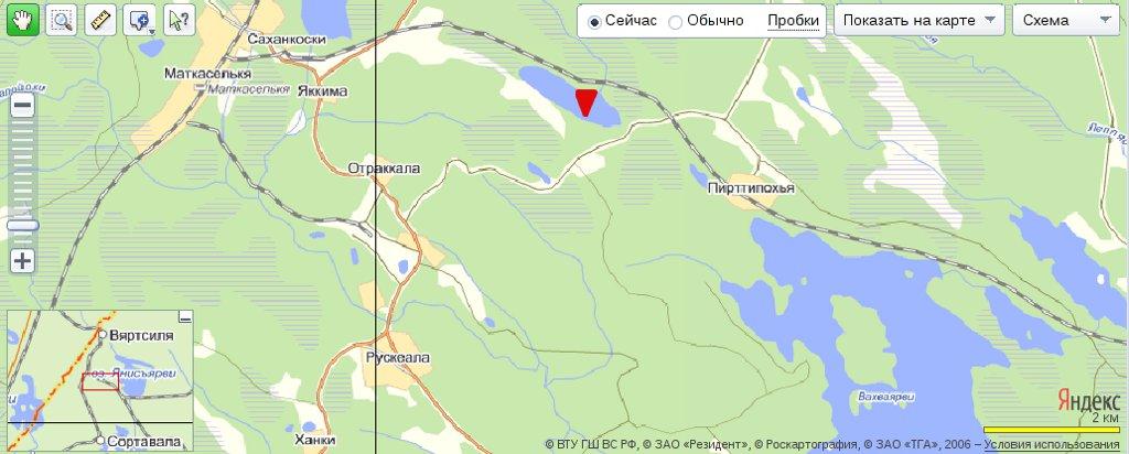 karta ozera2 Озеро Маткаселькялампи